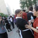 Des femmes de chambre manifestent à l'occasion du procès DSK, le 6 juin 2011 à New York.