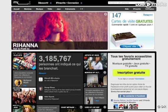 """La page d'accueil du nouveau """"MySpace"""""""