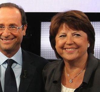 François Hollande et Martine Aubry lors du débat du 15...