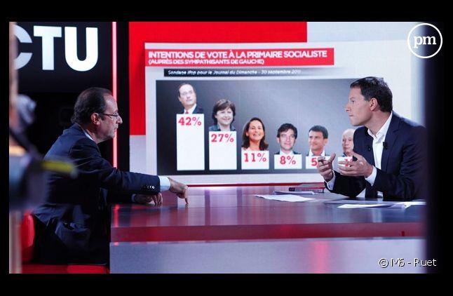 """François Hollande face à Marc-Olivier Fogiel dans """"Face à l'actu"""", le 2 octobre 2011, sur M6"""