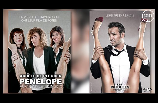 """Les affiches de """"Arrête de pleurer Pénélope"""" et du film """"Les Infidèles""""."""