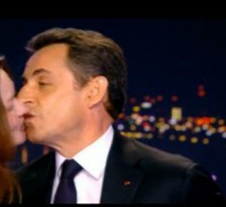 Le baiser de Carla-Bruni Sarkozy sur le plateau de TF1,...