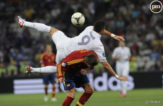 Olivier Giroud, joueur de l'Equipe de France, lors du match face à l'Espagne le 23 juin 2012.