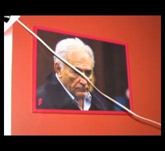 Un portrait de DSK orne nonchalamment le 'Low Cost', l'un...