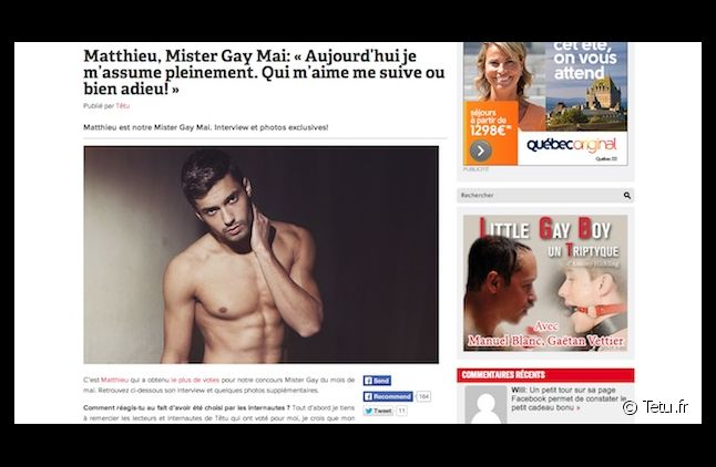 """Le Mister Gay de mai de """"Têtu"""" poste des """"propos choquants"""""""