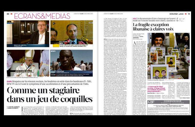 """L'article consacré au """"stagiaire d'i-TELE"""", dans Libération."""