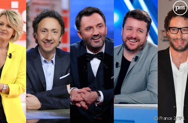 Sophie Davant, Stéphane Bern, Frédéric Lopez, Bruno Guillon et Manu Levy