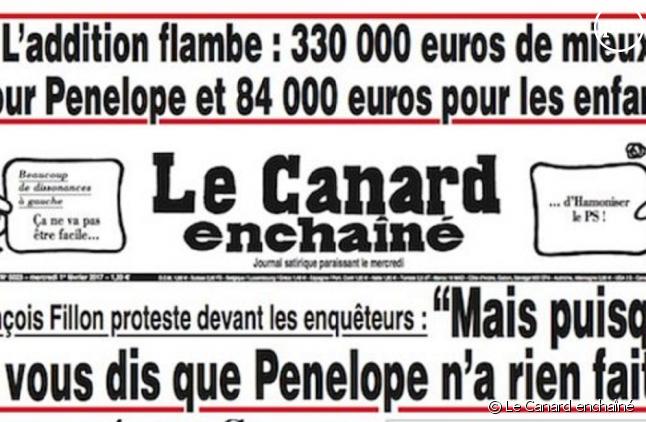 Le Canard enchaîné sur l'affaire Penelope Fillon.