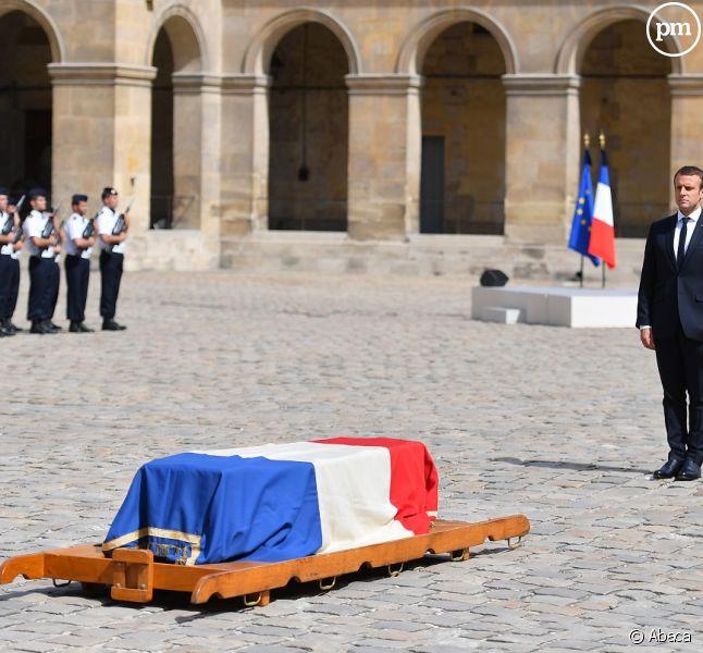 Emmanuel Macron lors de la cérémonie d'hommage à Simone Veil.