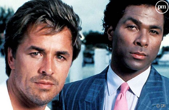 "<span>Don Johnson et Philip Michael Thomas dans ""Deux flics à Miami""</span>"