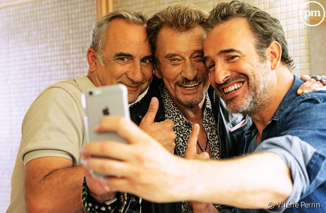 """Johnny Hallyday avec Antoine Duléry et Jean Dujardin dans """"Chacun sa vie"""" de Claude Lelouch"""