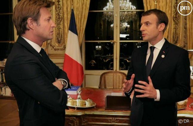 Laurent Delahousse et Emmanuel Macron
