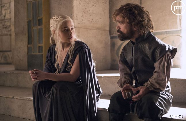 "Emilia Clarke et Peter Dinklage dans ""Game of Thrones"""