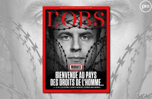 """La Une de """"L'Obs"""" sur la politique migratoire d'Emmanuel Macron"""
