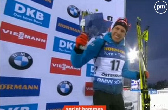 Biathlon : Quentin Fillon Maillet sur le podium