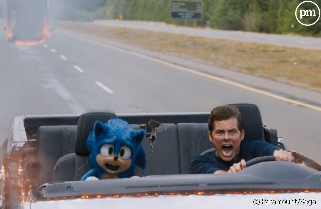 "James Marsden et Sonic dans ""Sonic, le film"""