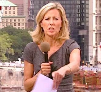 Claire Chazal, surpris par le direct, le 10 septembre...