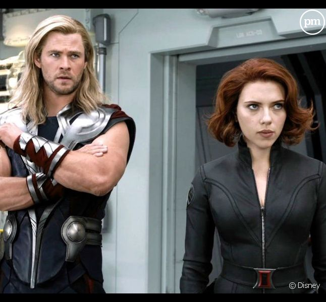 "Chris Hemsworth et Scarlett Johansson dans ""The Avengers"""
