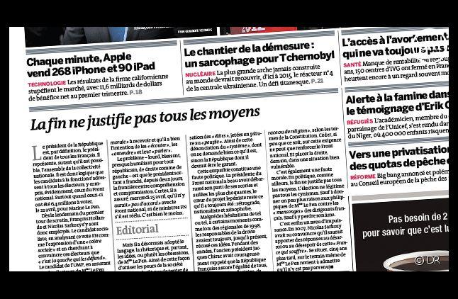 """La Une du quotidien """"Le Monde"""", daté du 26 avril 2012."""