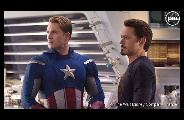 """Chris Evans et Robert Downey, Jr. dans """"Avengers"""""""