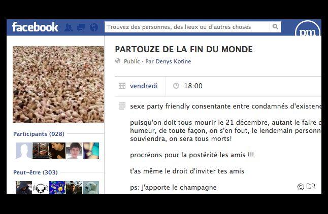 """La page Facebook de l'événement """"Partouze de la fin du monde""""."""