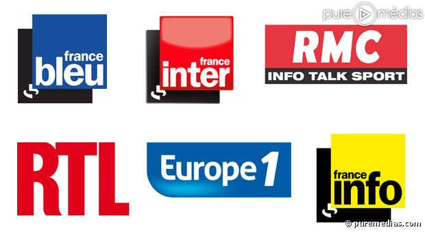 Les logos de France Inter, France Bleu, RMC, RTL, Europe 1 et France Info