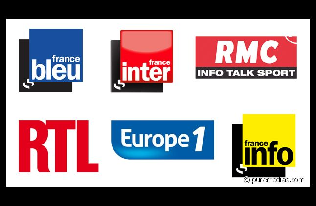 Les logos de France Inter, France Bleu, RMC, RTL, Europe 1 et France Info