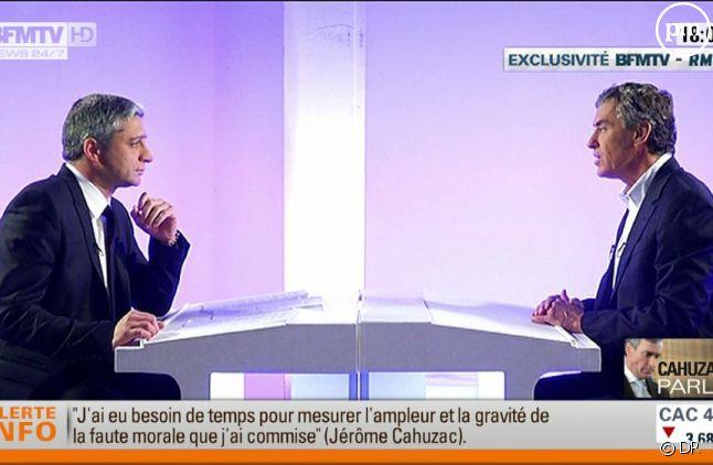 Jean-françois Achilli et Jérôme Cahuzac, sur BFMTV le 16 avril 2013.