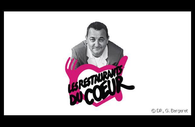"""L'affiche de l'association """"Les restos du coeur"""" avec le portrait de Coluche."""