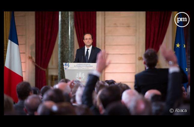 Salle comble pour la 3ème conférence de presse de François Hollande.