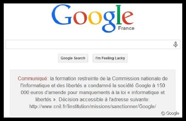 Google.fr affiche le communiqué de condamnation de la CNIL