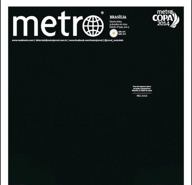 """La Une noire de """"Métro"""" après la lourde défaite du Brésil face à l'Allemagne"""
