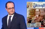 François Hollande grimé en Hitler en Une d'un journal marocain