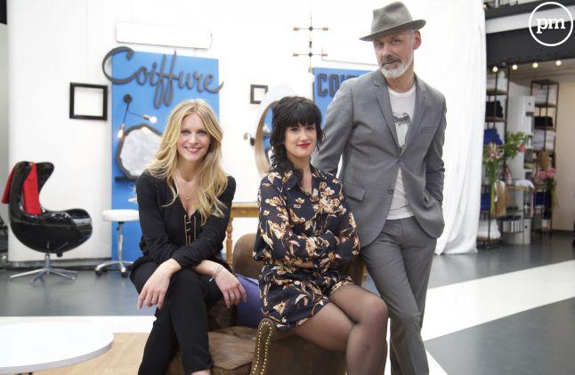 """Sandrine Corman et les jurés de """"Hair, le meilleur coiffeur"""" Eva Guide et Alain Pichon"""
