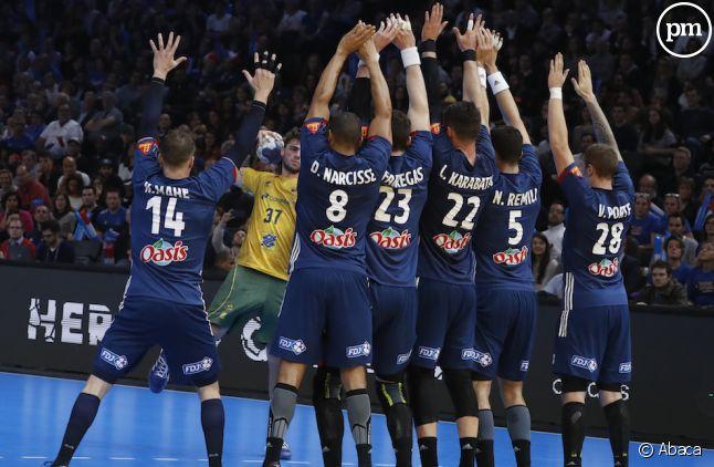 L'équipe de France de handball lors de France-Brésil