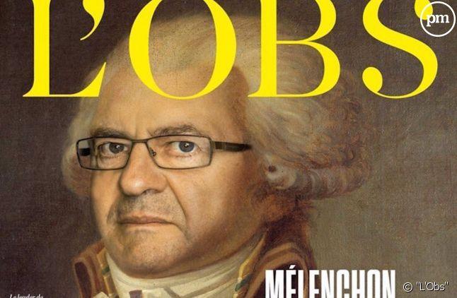 """Jean-Luc Mélenchon grimé en Robespierre à la Une de """"L'Obs""""."""