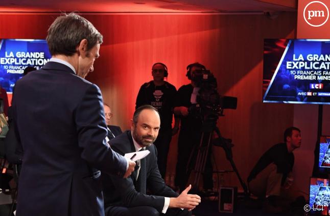 Edouard Philippe dans les locaux de TF1 le 13 février 2019
