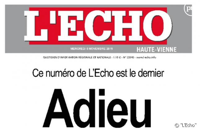 """La dernière Une de """"L'Echo"""""""