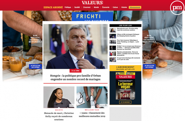 """Le site de """"Valeurs actuelles"""" le 2 décembre 2019"""