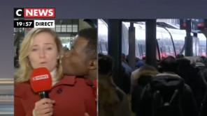Grève : Une journaliste de CNews embrassée de force durant un duplex