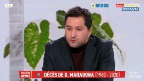 """Mort de Diego Maradona : Le chroniqueur Nabil Djellit en larmes dans """"L'Equipe d'Estelle"""""""