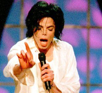 Michael Jackson, en 2001, sur la scène du Madison Square...