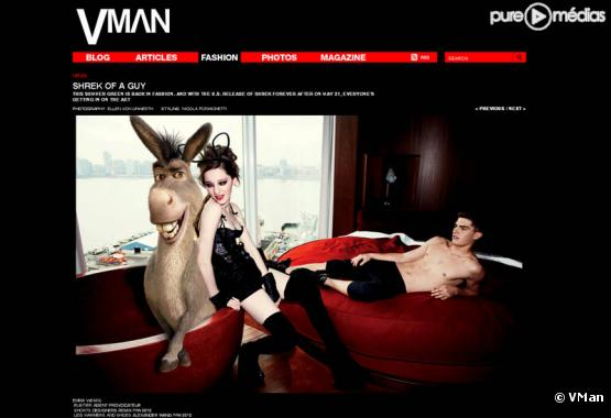 Capture du site VMan, où on découvre l'une des photos de Shrek incriminées