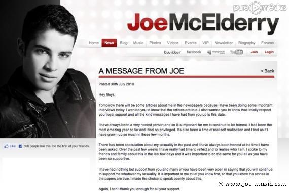 Le coming out de Joe McElderry sur son site officiel
