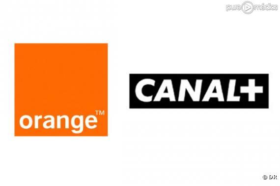 Les logos d'Orange et de Canal+.Canal+.