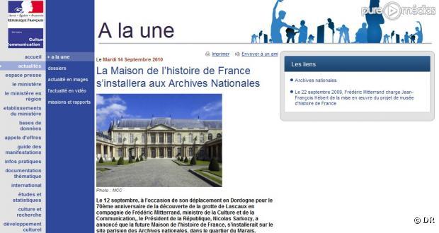 Capture d'écran culture.gouv.fr 20 septembre
