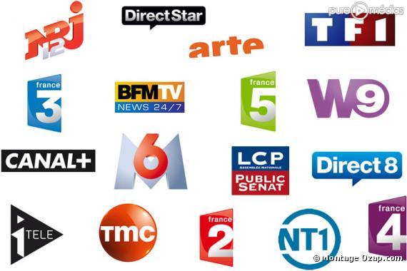 Les logos des chaines de la TNT.