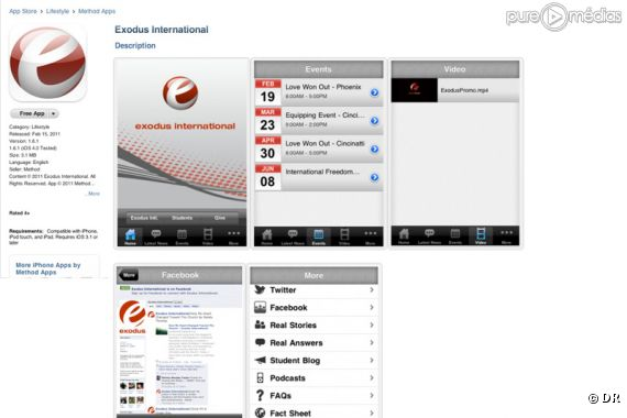 L'application mise en ligne par Exodus