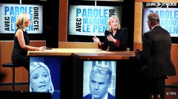 """""""Parole directe"""" avec Marine Le Pen, le 15 septembre 2011 sur TF1."""