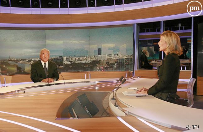 Dominique Strauss-Kahn face à Claire Chazal au JT de TF1, le 18 septembre 2011.